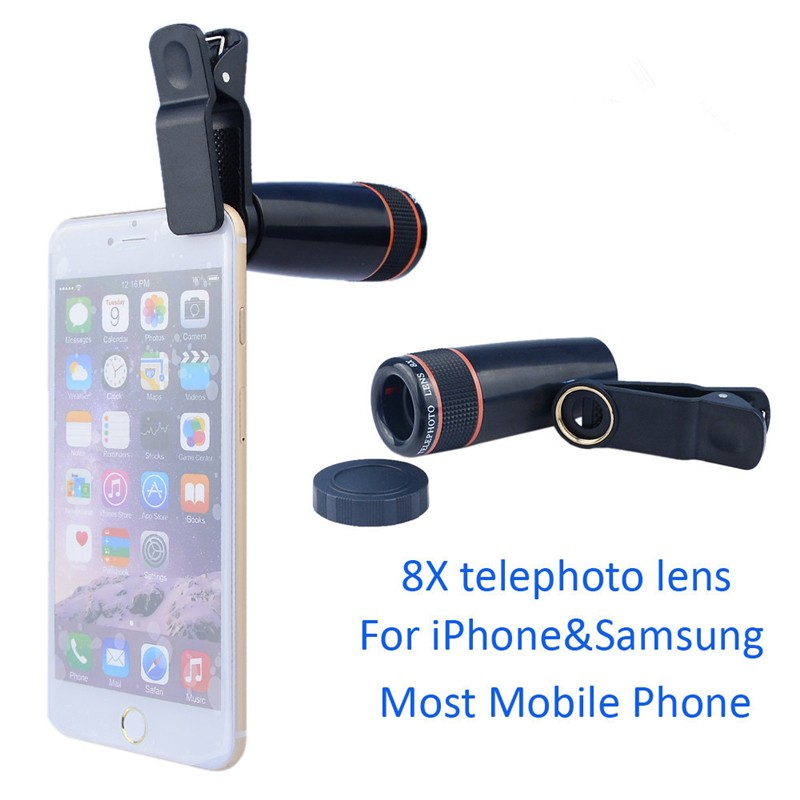 16 New 10in1 Phone Camera Lens Kit 8x Telephoto Lens + Wide Angle + Macro Lens +Fish Eye +Selfie Stick Monopod + Mini Tripod 7