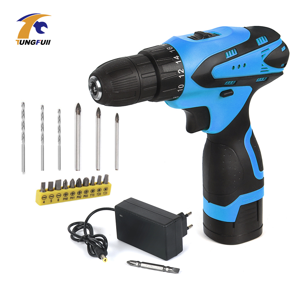 Tungfull Cordless Screwdriver Electric Drill Two-Speed Rechargeable Lithium Battery Electric Screwdriver with 16pcs Bits 16.8V replacement rechargeable 3 7v 2000mah lithium battery pack with screwdriver for nintendo 3ds