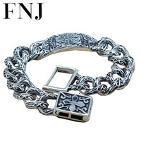 15MM Statement Bracelet 925 Sterling Silver 20.8 21.8cm Big Hand Chain 100% S925 Solid Thai Silver Bracelets for Men Jewelry