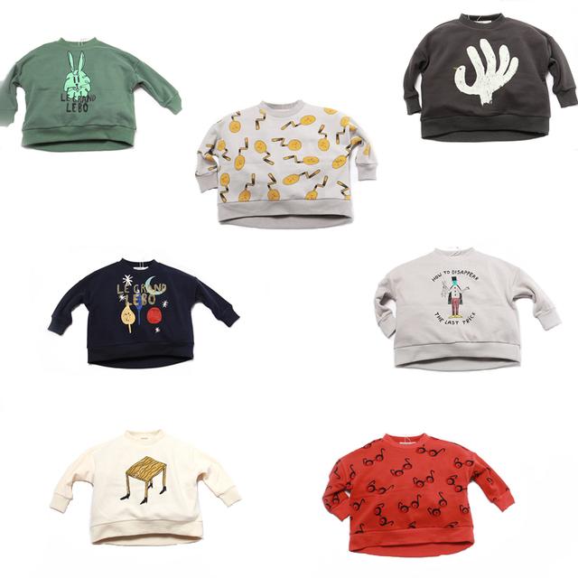 2016 Bobo Choses Camisola meninas Maquiagem Mão verde Coelho Padrão cotton Hoodies do bebê meninos outerwear roupa dos miúdos Yebaby loja