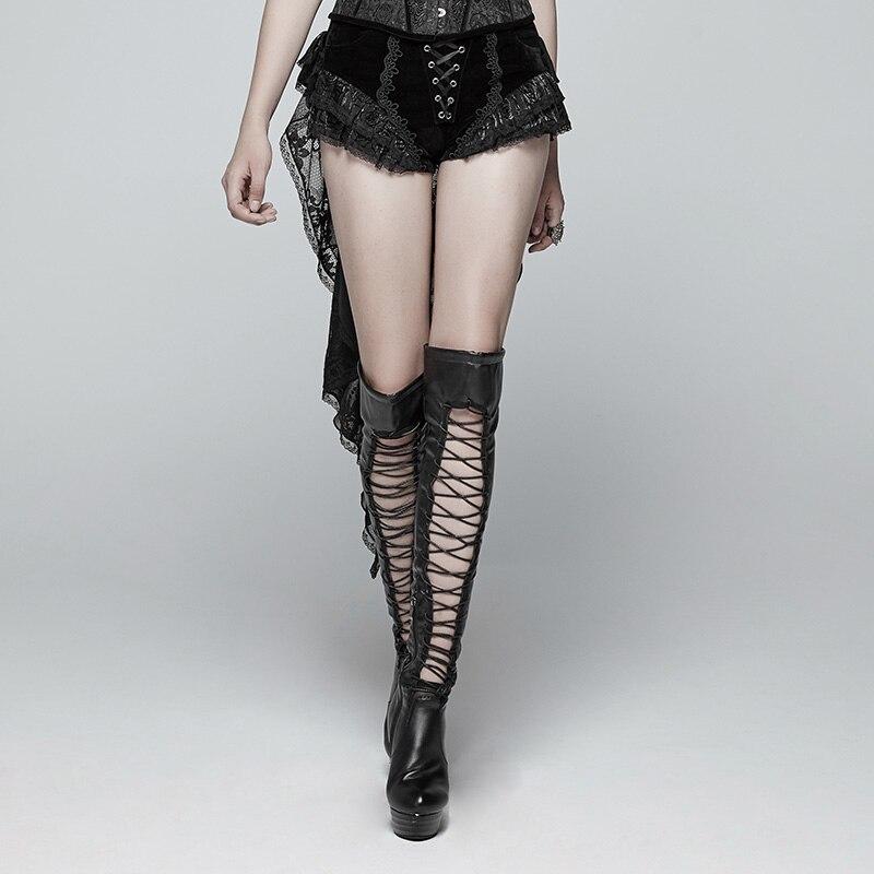 PUNK RAVEwomen gótico pantalones cortos de cola de golondrina pantalones cortos Retro de moda cordones victoriana Sexy Palace Steage rendimiento pantalones cortos