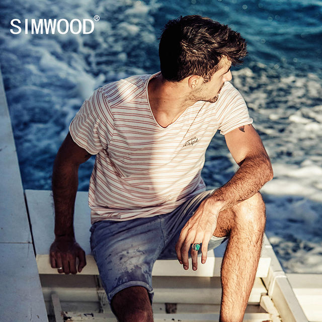 c3b38343f1061 SIMWOOD 2018 T Shirt Men Summer Striped 100% Pure Cotton Print Breton Top Slim  Fit Curl Hem Brand Clothing Plus Size TD017086