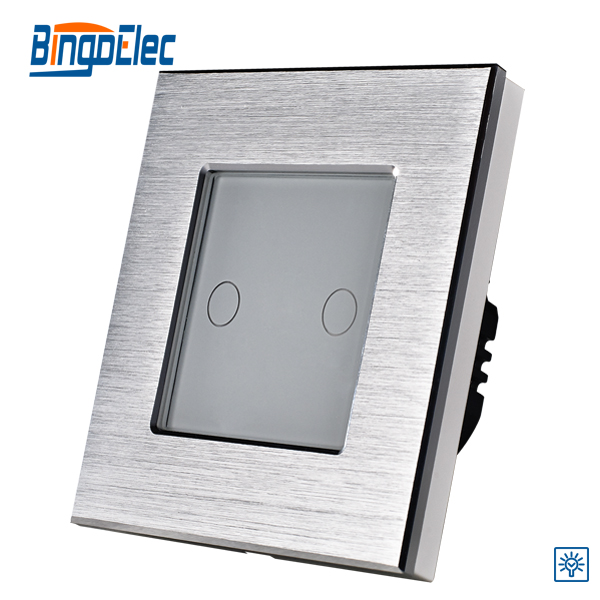 Bingoelec EU UK Standard high grade 2 Button 2gang 1way Dimmer Switch Touch Screen Light Switch Silver Aluminum Panel AC110-240V 1gang 1way touch remote dimmer switch glass panel touch dimmer light switch eu uk standard ac110 240v hot sale
