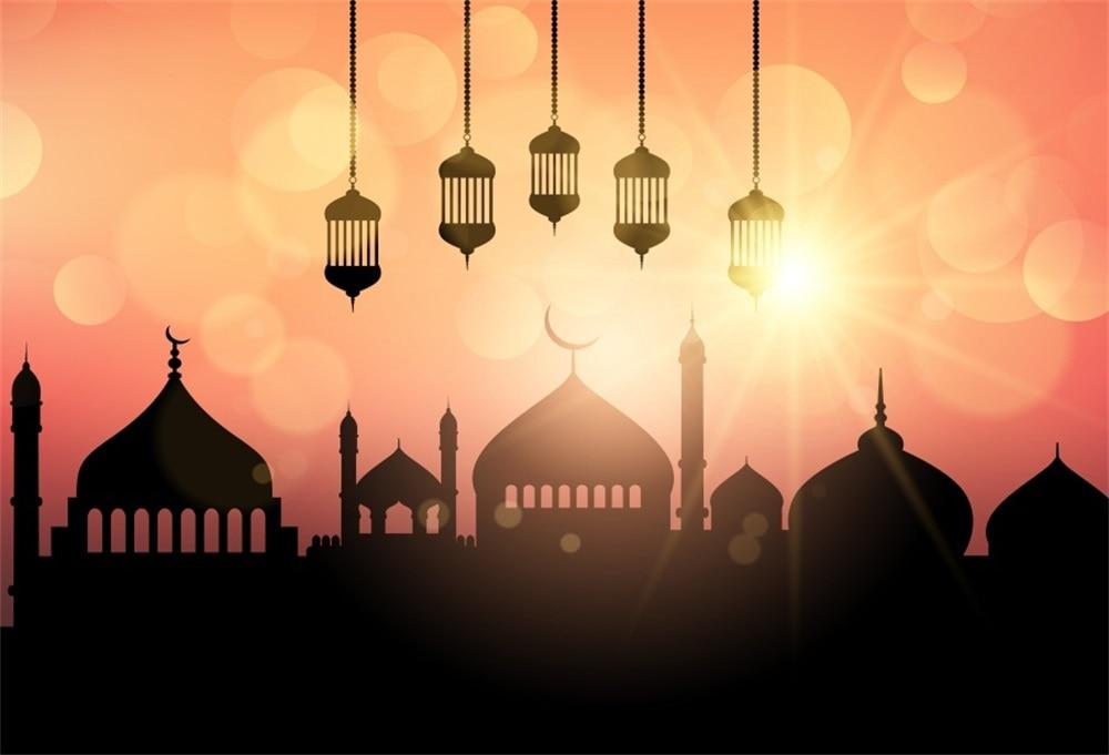 Laeacco Eid Crescent Moon Mosque Mubarak Light Bokeh Photography Background Customized Photographic Backdrops For Photo Studio