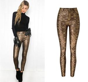 Chic women high waist PU leather pants sexy snake pattern pencil pants D905