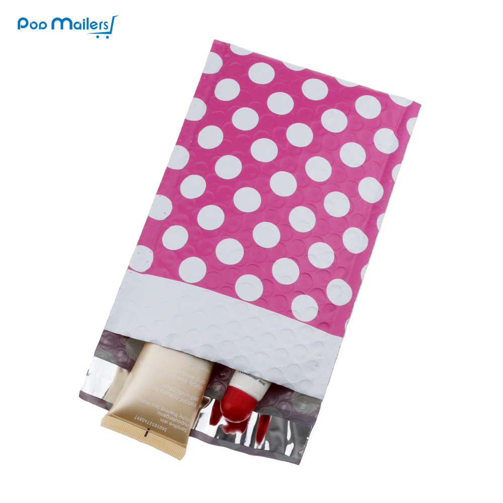 10pcs 130*180mm Creative Design Poly Bubble Mailers 4x8 Inches Padded Envelopes Pink Dot