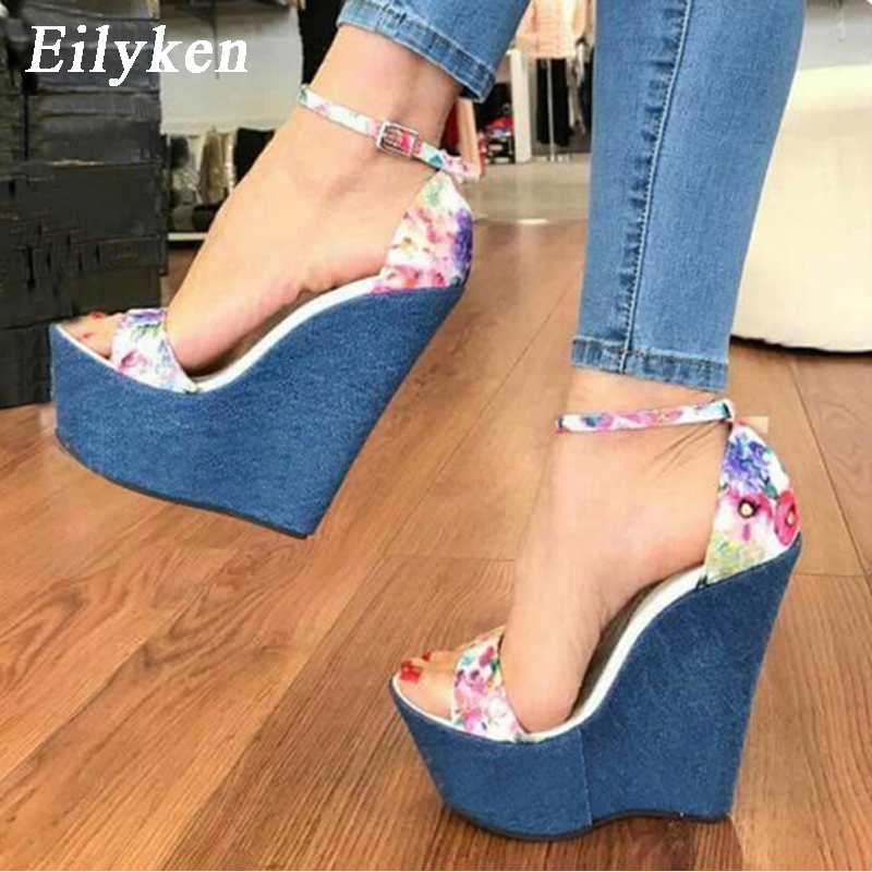 Eilyken 2018 New Designer Print Denim Sandals Roman Sandals High Quality Wedges High Heels Peep-Toe Platform Shoes Woman худи print bar roman reigns