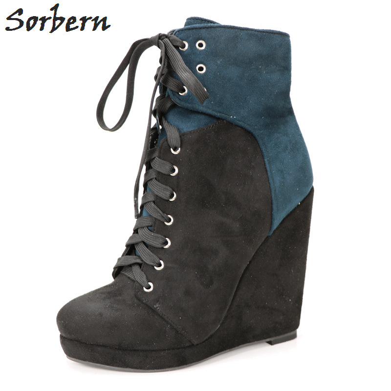 Sorbern Ink Blue Short Boots Large Size Wedged Heels High Heel Ankle Boots Size 44Black Lace Ankle Booties 2018 Fall Women Boots faux soft leather mesh fabric women boots see through high heels stilettos ankle high fall style women booties heel ankle boots