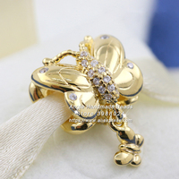 2019 Spring Release Shine Decorative Butterfly Charm 18K Gold Overlay Silver Charm Beads Fits European Pandora DIY Bracelets
