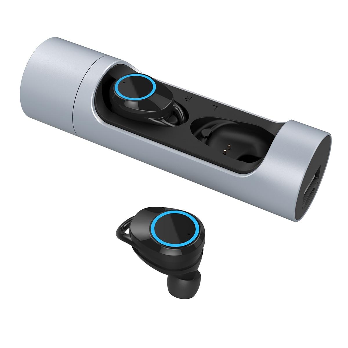 JRGK écouteurs portables sans fil Bluetooth 5.0 casque oreillettes haut son écouteurs binauraux avec prise de charge magnétique
