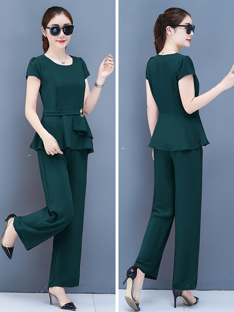 2019 Summer Chiffon 2 Two Piece Sets Outfits Women Plus Size Short Sleeve Tunics Tops And Pants Suits Office Elegant Korean Sets 61