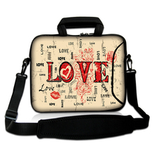 "10""13""14""15""17"" Sweet Love Letters Type Computer Handle Neoprene Sleeve Case Netbook Messenger Carring Satchel Bag For Toshiba"