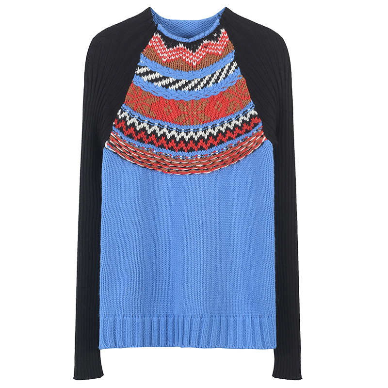 Women Sweater Vintage Color Block Striped Patchwork Knitted Twist Jumper Runway Long Sleeve Rib Pullovers Tops