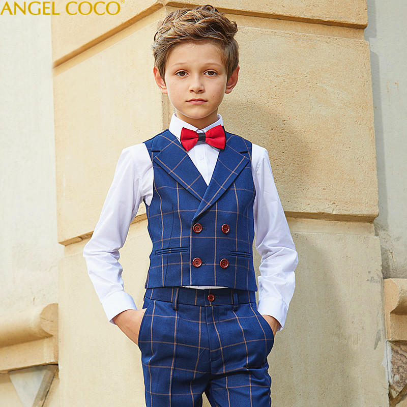 High Quality Spring Autumn Boys Blazer Gentlemen's Blue Plaid Suit Lapel Into 5 Pieces Vest/Trousers/Shirt/Bow Tie/Socks Menino