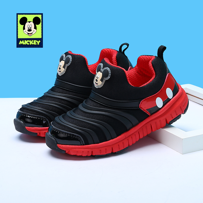 Disney Children's Casual Shoes Mickey spring autumn boys girls net Caterpillar breathable casual shoes for kid Size 26-35