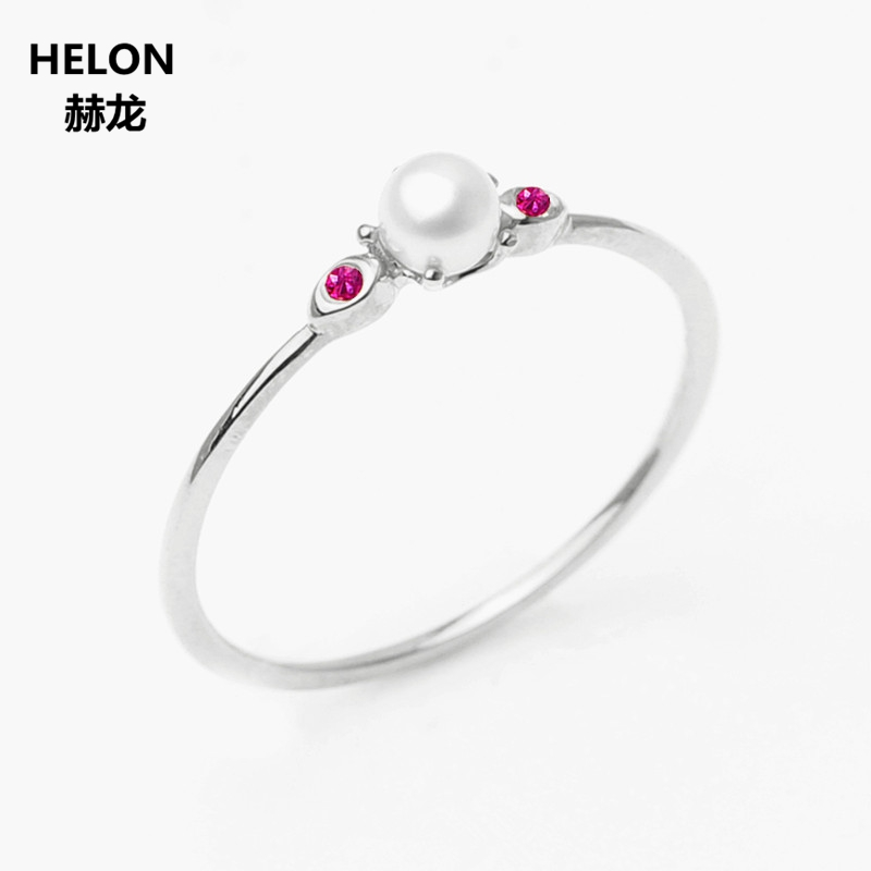 Solid 14k White Gold 3.5MM Round Natural Freshwater Pearl Ring Natural Ruby Engagement Wedding Ring for Women Fine Party Jewelry корпус atx cougar panzer max без бп чёрный