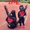 Мать Сын Наряды семейство Соответствующих Мать и Дочь Одежда Pu Кожа семья костюм для Новый Год хип-хоп спорт одежда