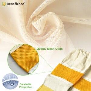 Image 3 - Top di Marca Benefitbee Ape Guanti di Pelle Guanto di Pelle di Pecora New Ventilato Maglia Guanti con Maniche Lunghe Apicultura Attrezzature Bee