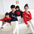 Новый 2015 семья посмотрите мода семьи толстовки хлопок письмо в форме сердца картины печать мать и дочь соответствующие толстовки Большой размер