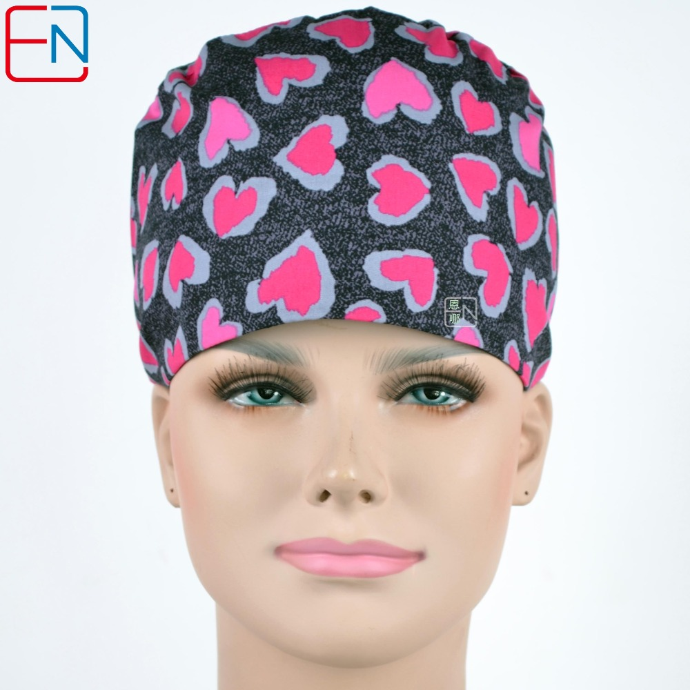 Hennar Women Hospital Surgical Cap Mask Doctors And Nurse Medical Caps 100% Cotton Adjustable Hospital Clinic Work Hats Masks