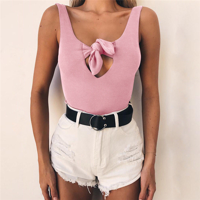 New Fashion Sexy Women Sleeveless Bodycon Bandage Bodysuit Solid Color V Neck Sexy Women Hollow Out Bandage Bodysuit For Women