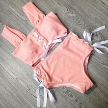 Летний милый женский купальник с высокой талией, бикини, полый купальник, одежда для плавания для девочек, сексуальная бандажная одежда для плавания, купальные костюмы с перекрестными ремешками, два предмета