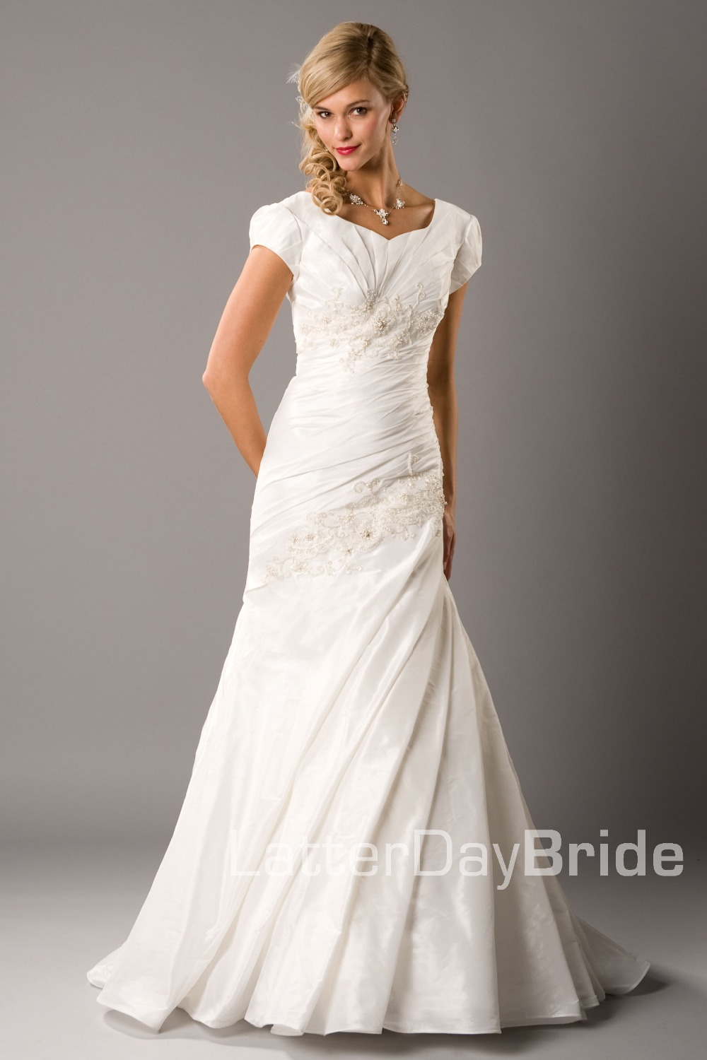 2019 New Inexpensive Modest  Ivory A-Line Long With Train Cap Sleeves Ruched Taffeta Women Church Wedding Dress With Sleeves