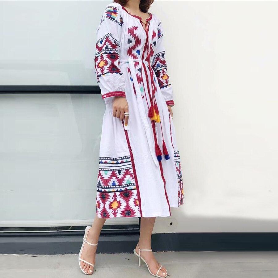 TEELYNN tunic dress white cotton ethnic embroidery tassel long sleeve Ukraine dresses loose Gypsy boho women