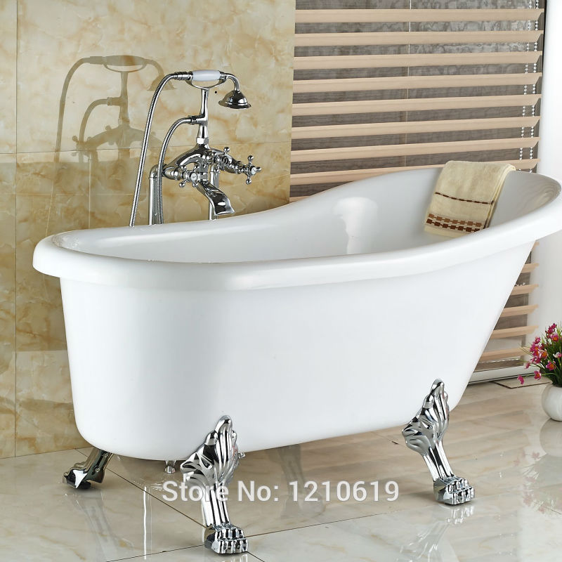 Newly Floor Type Chrome Bath Shower Mixer Faucet Tap Telephone Style ...