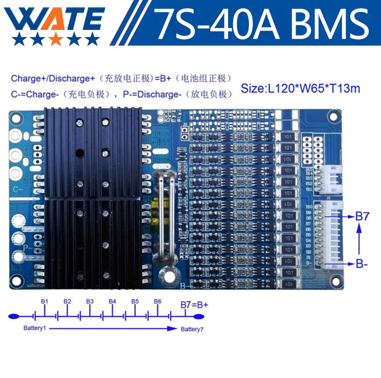 Protection Circuit 7S 40A BMS PCM PCB Battery Protection Board For 29.4V Li-ion lithium Battery Cell Pack PCM-LB7S40A-1265 4s 8a li ion lithium battery charger protection board 3 7v 14 8v 4 serial pcb charging protection module overcharging protection