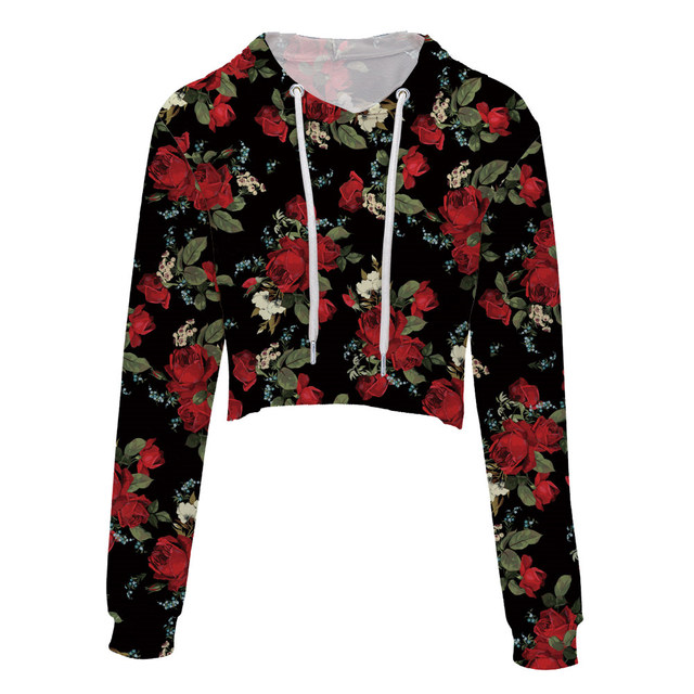 Leimolis Crop Top Hoodie Women 3d Print Red Rose Flower Leafs Black Casual Harajuku Kawaii Spring Autumn Thin Tops Sweatshirt by Leimolis