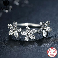 Authentic 100 925 Sterling Silver Dazzling Daisies Stackable Ring Clear CZ Flower Compatible With Pandora Jewelry