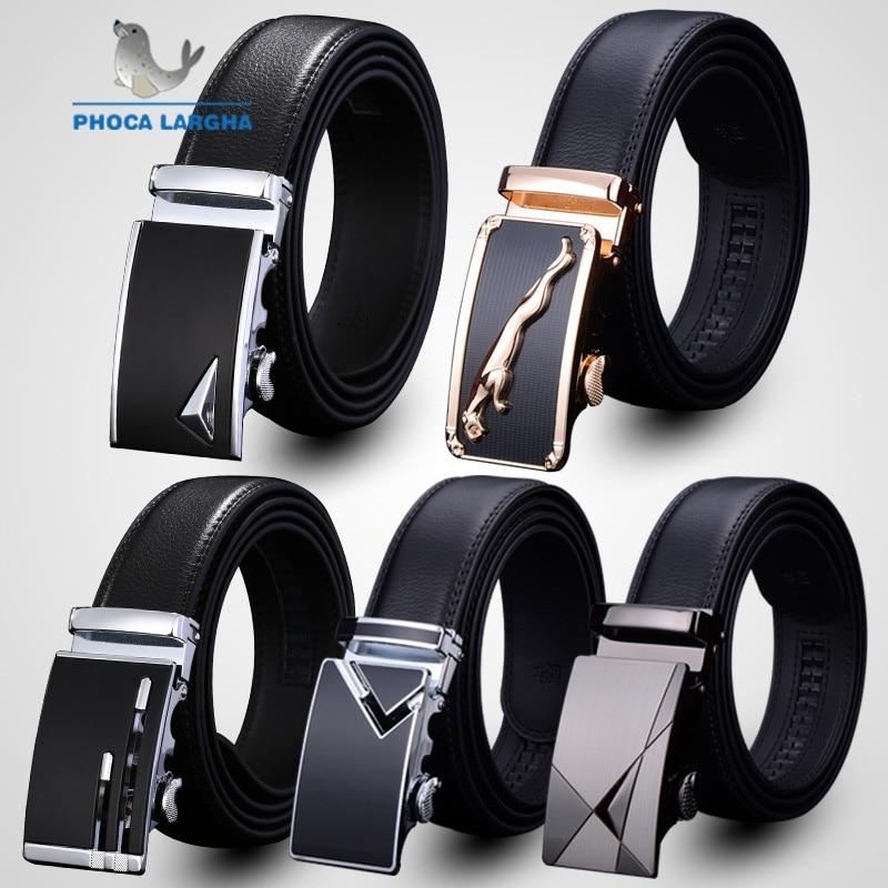 Fashion Men Belt 2019 Cowhide Genuine Leather Belts For Men Luxury Automatic Buckle Belts Brown Black Cinturones Hombre