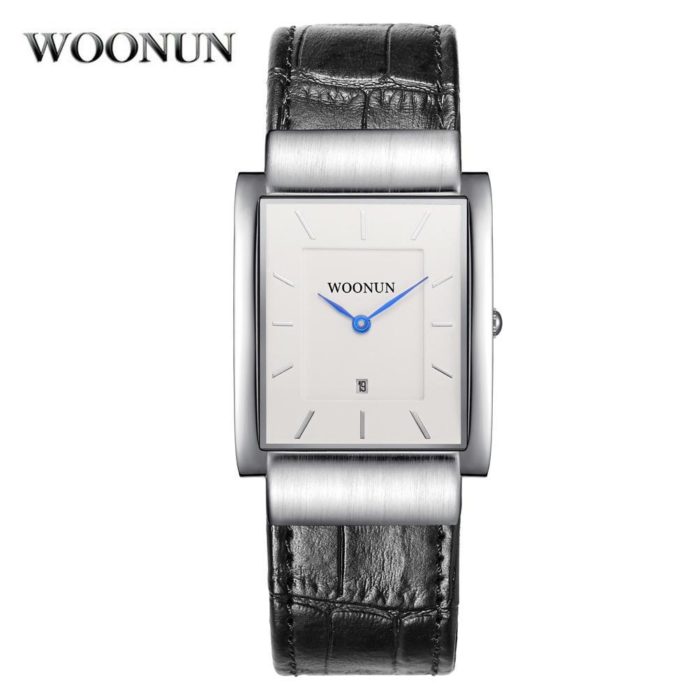 WOONUN Men Watches Top Brand Luxury Waterproof Quartz Ultra Thin Watches For Men Fashion Rectangle Watch Men Relogio Masculino woonun top famous brand luxury gold watch men waterproof shockproof full steel diamond quartz watches for men relogio masculino