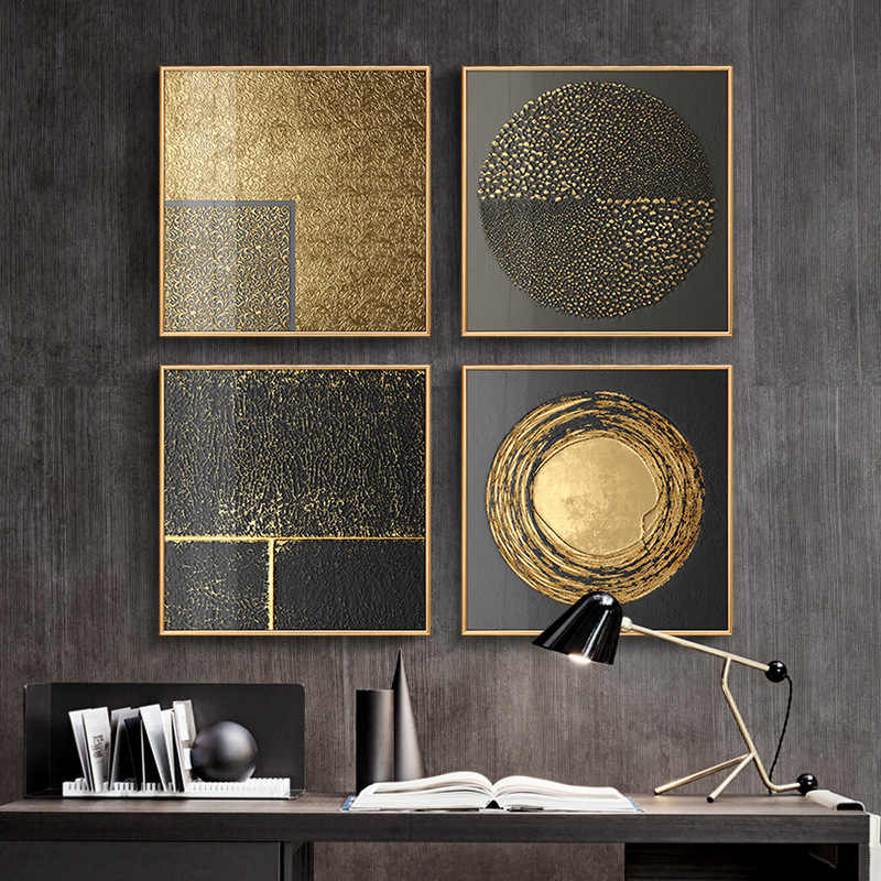 Abstrato Preto Ouro Luxo Nordic Art Canvas Pintura Home Decor Wall Art Imagem Impressão Retro Minimalista Sala de estar Do Vintage