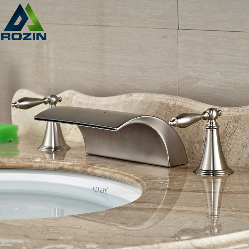 Modern Brass Deck Mounted Dual Handles Bathroom Basin Mixer Faucet Tap Brushed Nickel Waterfall Spout