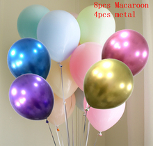 12pcs Macaroon Balloon Pearl Latex Metal Chrome Metallic Colors Inflatable Air Balloons Globos Metalicos Party Decoratio