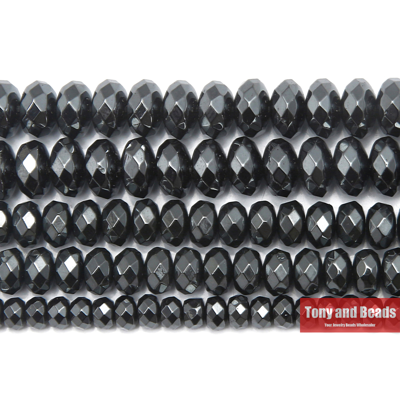 Free Shipping Natural Stone No Magnetic Faceted Rondelle Black Hematite Beads 4x6 5x8 6x10MM 15 Per Strand Pick Size ...