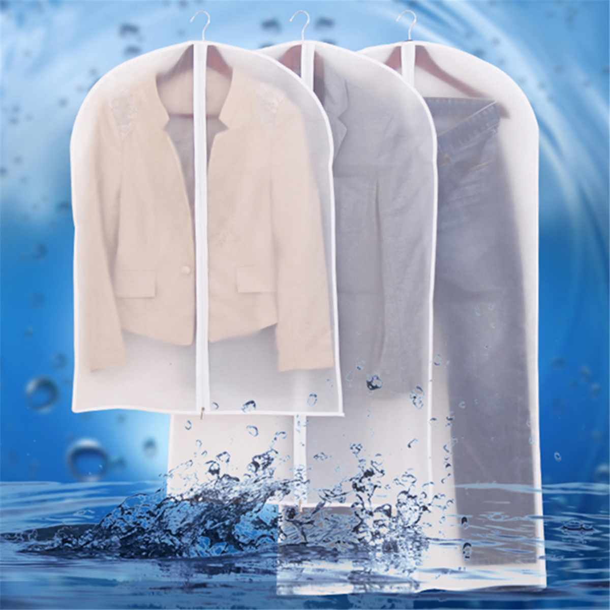 Wardrobe Garment Bag 80/100/120/140cm Waterproof Transparent Suit Clothing Cover Washable Clothes Coat Protector Dust Covers