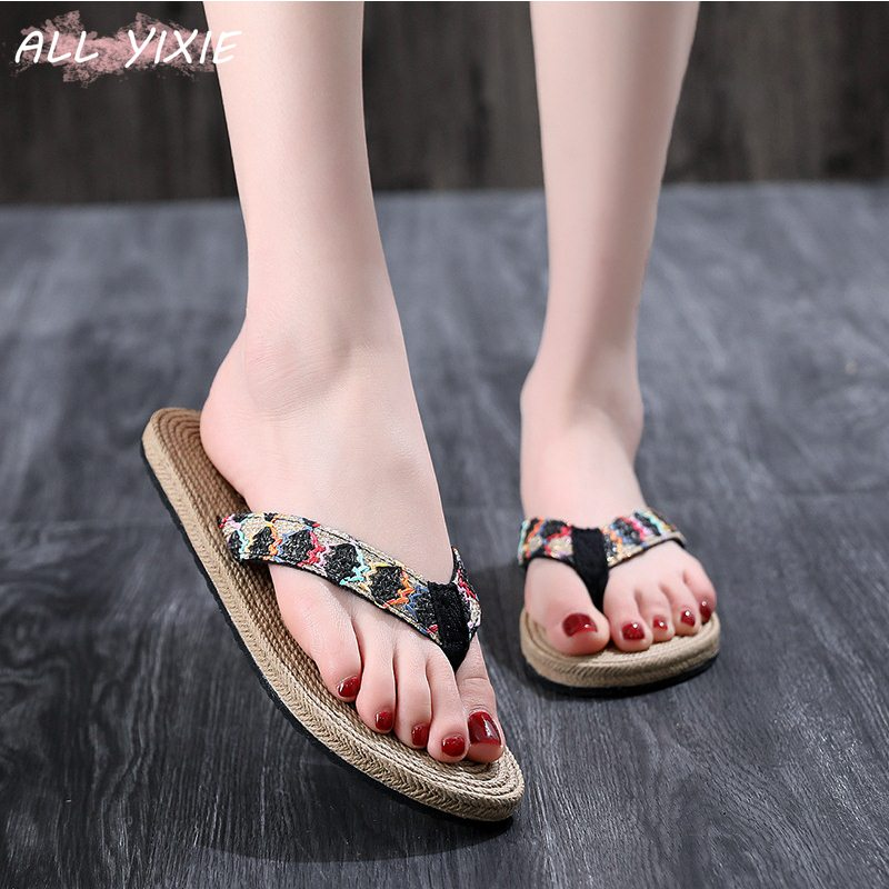 ALL YIXIE 2019 New Summer Beach Straw Slippers Flip Flops Sandals  Fashion Non-slip Flat Women Mujer Sandalias