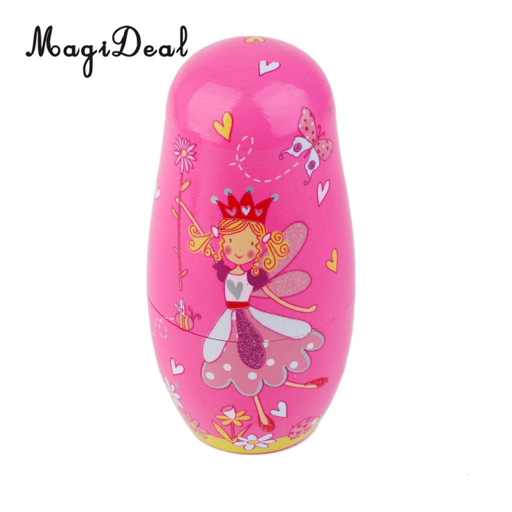 MagiDeal 5Pcs Painted Wooden Dancing Girl Angel Princess Russian Nesting Dolls for Dollhouse Baby Room Bedroom Decor Toy Gift