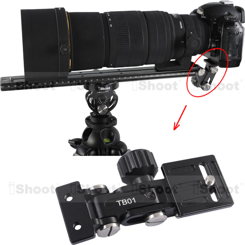 iShoot Telephoto Zoom Lens Bracket Long Focus Lens Support for Camera Ball Head Quick Release Plate