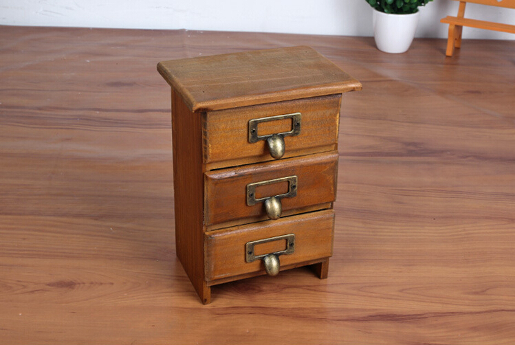 New Arrival Three Layer Retro Small Wood Storage Cabinet Drawers Home  Organizer Natural Antique Wooden Box With Zinc Handles In Storage Holders U0026  Racks From ...
