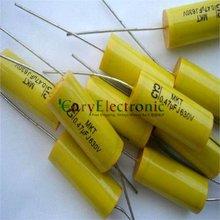 Condensadores de película de poliéster Axial amarillo, cables largos, electrónica, 0,47 uF, 630V, fr, amplificador de tubo de audio, venta al por mayor y al por menor, envío gratis