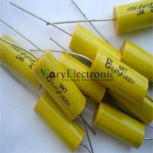 Image 1 - Wholesale and retail long leads yellow Axial Polyester Film Capacitors electronics 0.47uF 630V fr tube amp audio free shipping