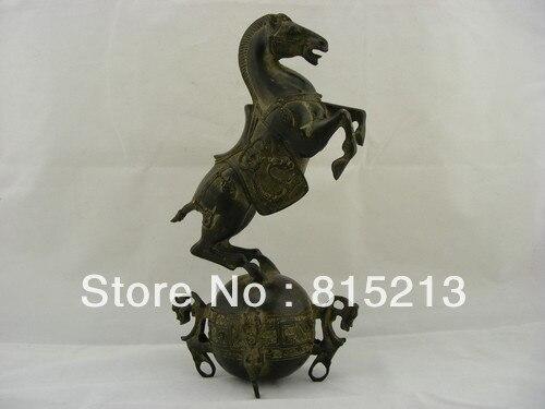 Wang 000111 Chinese Auspicious Old Bronze Sculpture Horse Tread QianKun