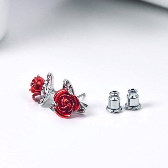 Flower Stud Earrings with Red Rose 3colors