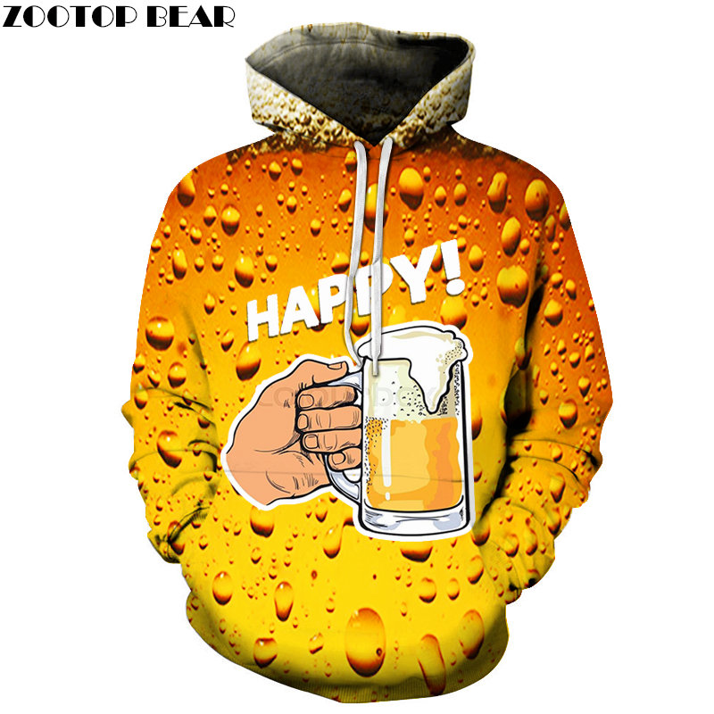 Beer Men Sweatshirts 3D print Graphic Hoodies Round Neck HipHop Fashion Clothes Pullover Casual Sleeve Streetwears ZOOTOPBEAR
