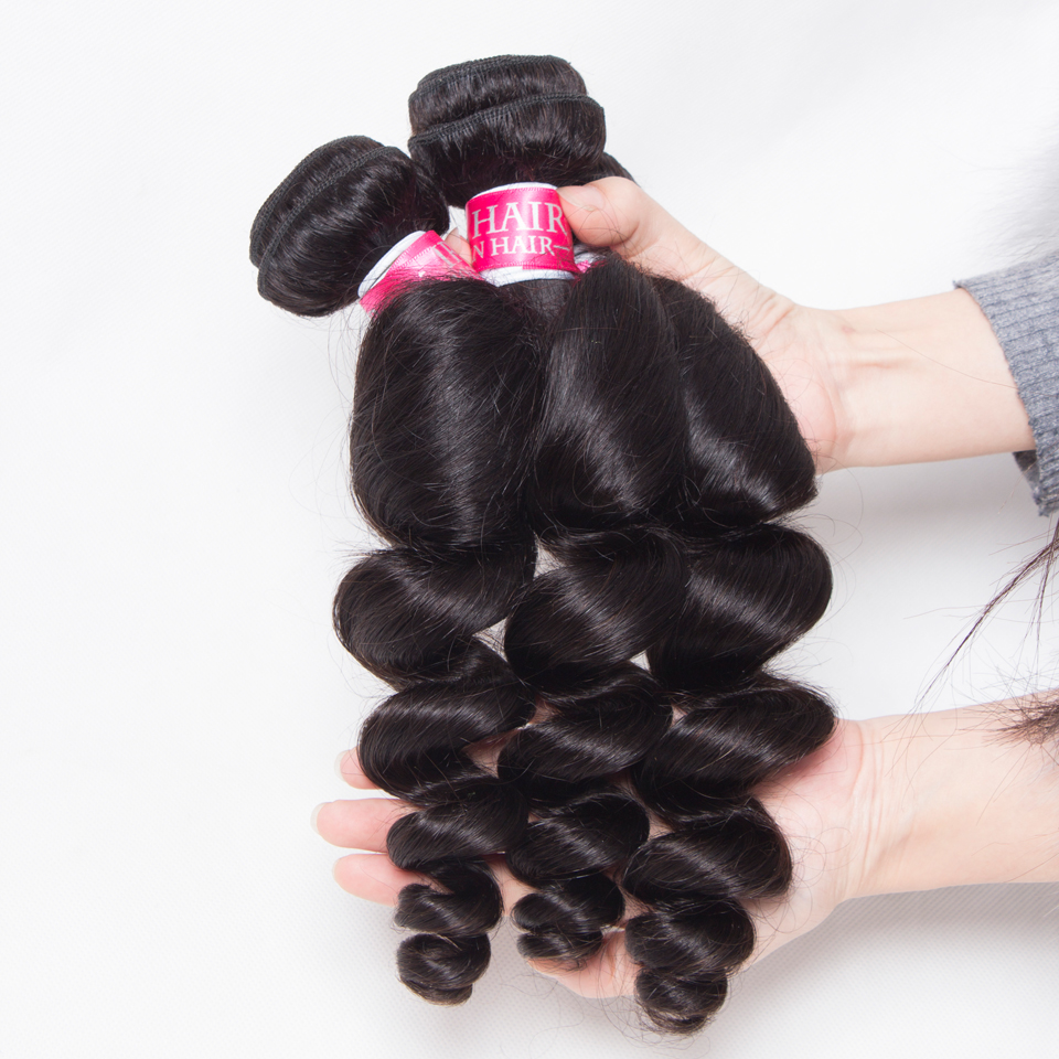 loose wave bundles with closure brazilian hair weave bundles with closure non remy wet and wavy human hair bundles with closure