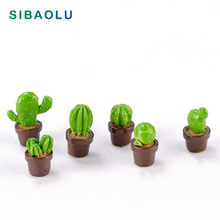 6pcs Artificial 3D Cactus Miniature figurine Potted Plant fairy garden Resin Craft  home decoration DIY accessories 3d artificial wall hanging potted plant